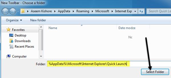 add quick launch bar