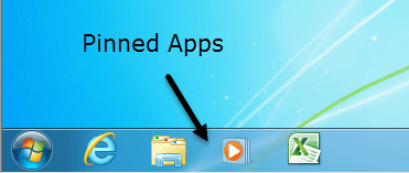 Pinned Apps Windows 7