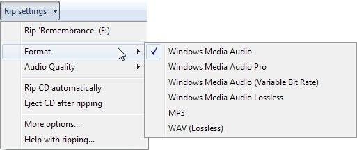 rip an audio cd to mp3 using windows media player