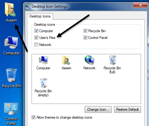 user folder windows 7