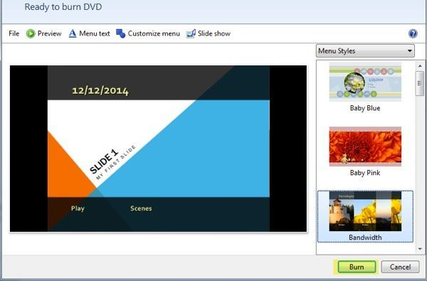 Change powerpoint to dvd with nero dvd burner.