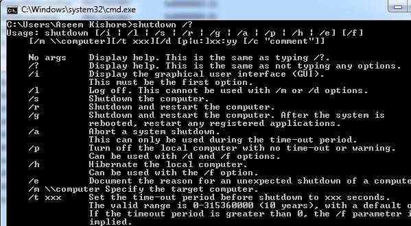 shutdown command help