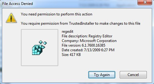Fix Registry Editing has been Disabled by Your Administrator Error Method 3 – Rename regedit