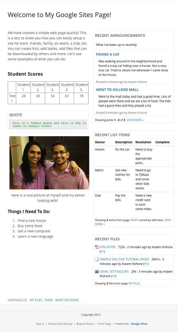 google sites page