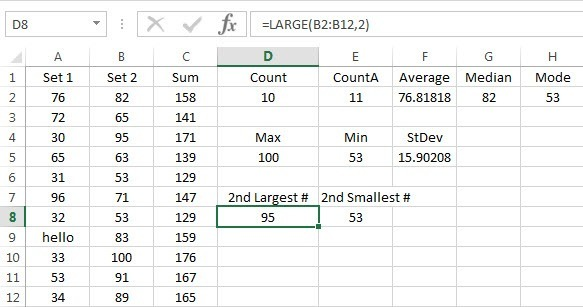 Excel Large Small