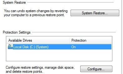 configure restore point
