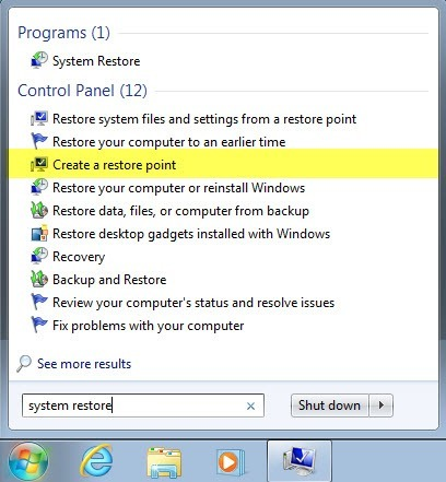 how to create system restore points in windows 7