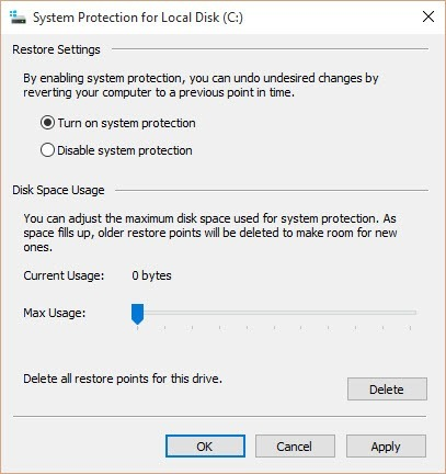 enable system protection