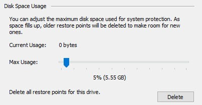 space usage system restore