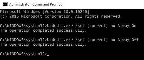 configure or turn off dep data execution prevention in windows