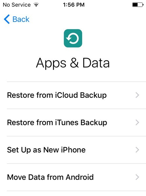 No icloud backups are compatible with the version of ios