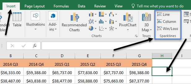 how to use sparklines in excel
