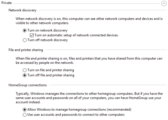 private network settings