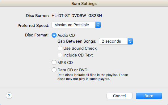 The Main Section Is Disc Format Where You Can Choose From An Audio CD 72 Minutes MP3 700 MB Or A Data DVD For