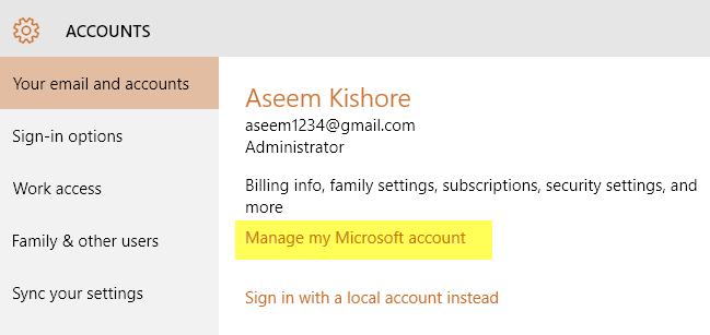 manage microsoft account