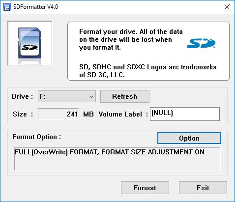 opciones de formateador sf