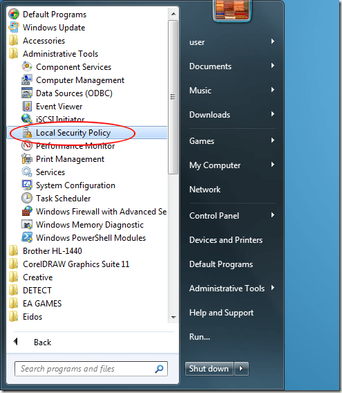 Startup Windows 7 Local Security Policy