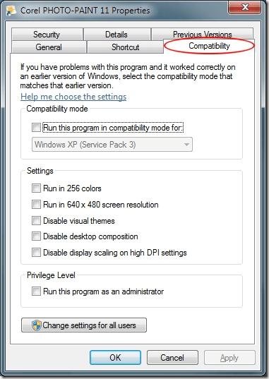 Windows 7 Compatibility Options