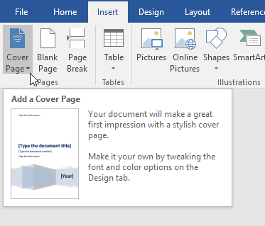 Add a cover page to a word document for How do you make your own business cards on word