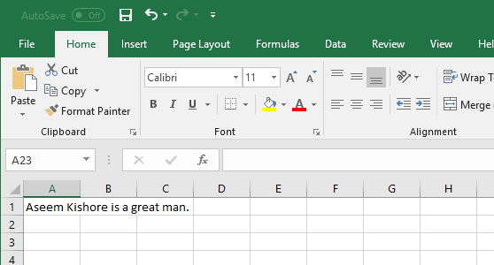 Wrap text in a cell