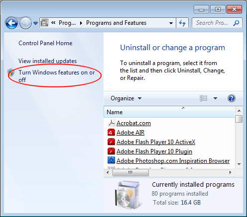 Turn on windows tablet pc components in windows turn windows features on or off link ccuart Images