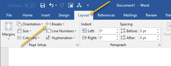 how to change 1 page to landscape in word mac