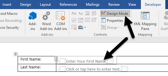 How to create fillable forms in word design mode word spiritdancerdesigns Gallery