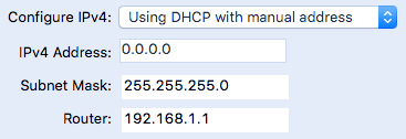 mac using dhcp with manual address
