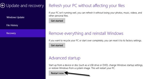 advanced startup win 8
