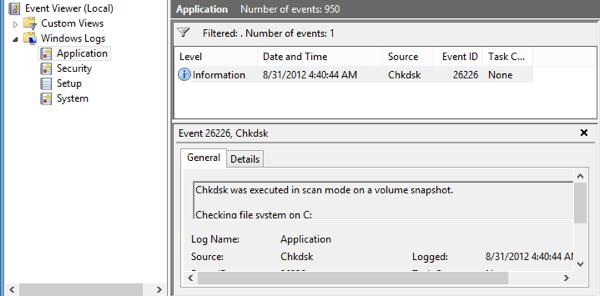 event viewer log