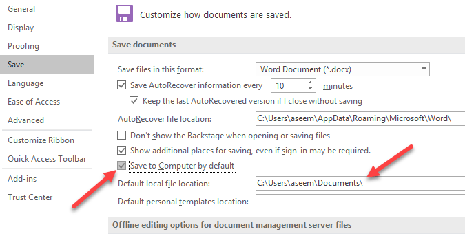 Save ms office files to local pc instead of onedrive you can also change default local file location if you like in the box below the checkbox now when you go to save a file it will save it locally rather toneelgroepblik Image collections
