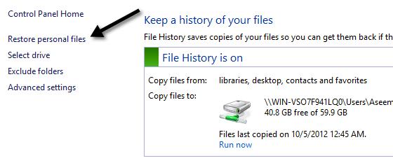 restore personal files