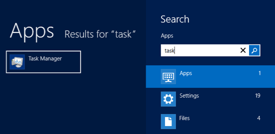Task manager search