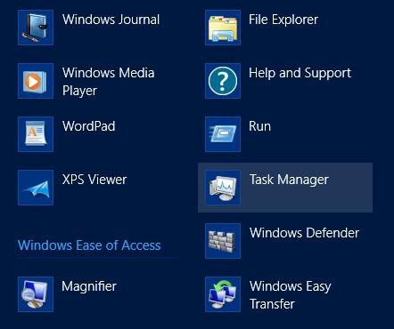 Task manager start screen