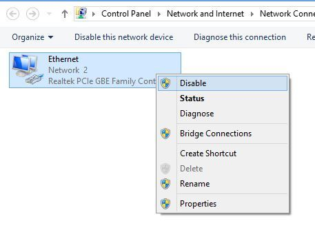 Disable network connection