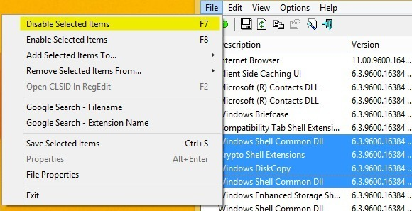 disable context menu items