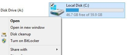 disk cleanup contenxt menu