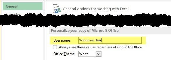 office user name