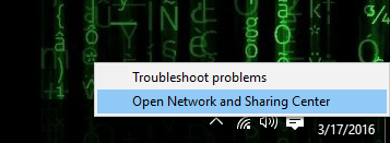open network sharing center