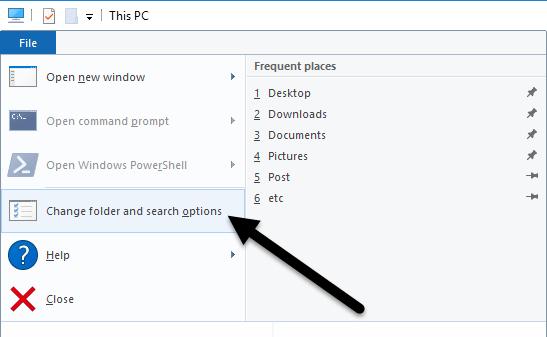change folder search options