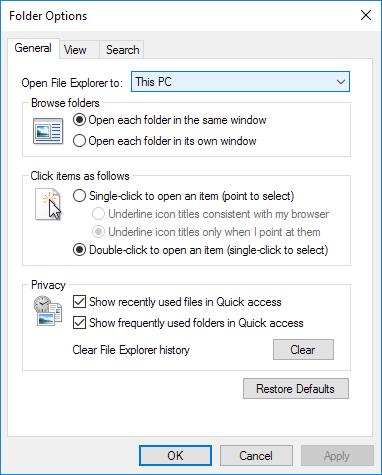folder options windows 10