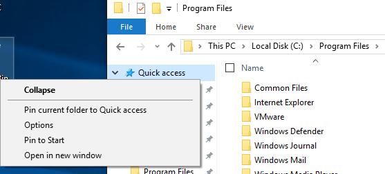 pin folder quick access