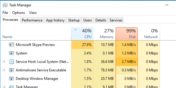 how to clear disk usage in task manager windows 10